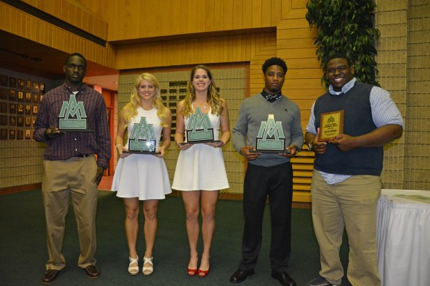 (From left): Male Scholar Athlete of the Year Sharif Hudson, Female Scholar Athlete of the Year Nikki Mullen, Female Athlete of the Year Jordan Goforth, Male Athlete of the Year Mike Early, Green and White Excellence Award Winner Jalen Garmon. (Photo Courtesy of UAM Sports Information)